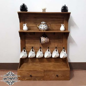 شلف ماگ-شلف فنجان-کمد ماگ چوبی-کارلوکس-wooden mug shelf-karlux