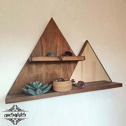 شلف و آینه مثلثی چوبی-شلف مثلثی-تاقچه مثلثی-کارلوکس-wooden triangle shelf with mirror-karlux