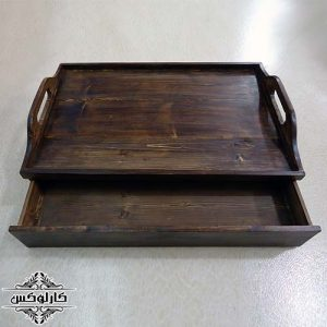 سینی پایه دار 2-سینی کشودار-سینی پایه و کشودار-کارلوکس-wooden tray with drawer-karlux.ir