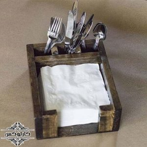 جا قاشق چنگالی-جا دستمال کاغذی چوبی-کارلوکس-tissue holder-wooden spoon holder-fork holder-knife holder-karlux